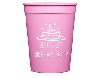 1st Birthday Stadium Plastic Cups - First Birthday Stadium Cups - Birthday Party - Party Favor - Birthday Favor