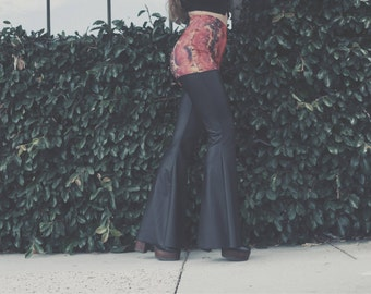 """MADE TO ORDER +++ """"The Breve"""" High Waist Pleather (Vegan Leather) Thigh high BellBottoms 