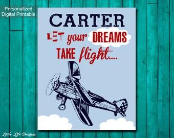 Personalized Airplane Decor. Vintage Airplane Nursery Decor. Airplane Art. Boys Airplane Nursery Wall Art. Transportation Nursery Wall Decor