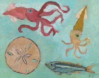 Squid Original Oil Painting