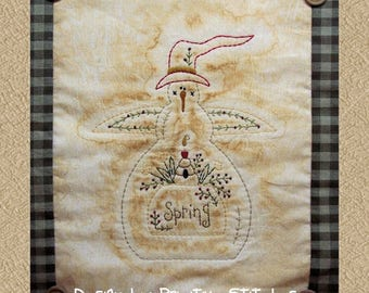 Season of Snowmen-Spring-Primitive Stitchery E-PATTERN-Instand Download
