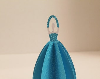 Blue Dress Standing Paper doll - use as a place card holder, gift card holder, party favor, bridal shower and more