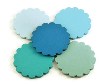 Two Inch Circles Paper Die Cut  2 inch  Scalloped Circles  in  Ocean