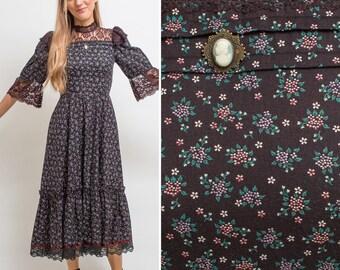 Gunne Sax dress vintage Gunne Sax GOTHIC dress 1970s LACE dress MIDI dress 70s floral dress Victorian inspired hippie black high neck dress