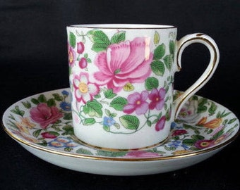 Sale. Crown Staffordshire Demitasse Cup, Vintage English Demitasse Cup, Floral Decor, Gift for Her, Hostess Gift