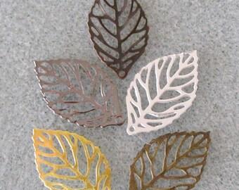 Itty Bitty Leaf Filigree Mix Filigree Leaves You Choose Finish 10mm x 20mm 538