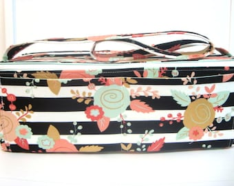 Super Double Wide Large 6 inch Depth  Fabric Coupon Organizer - With ZIPPER CLOSER  Black and White Stripes with Floral