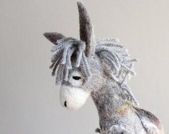 Felt Toy - Serafim - Felted Donkey. Art Toy. Marionette, Puppet, Stuffed plush animal for kids  Room decor  baby shower gift . grey gray.