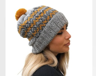 Knit wool hat / Fair isle women hat / winter accessories / Pom Pom hat / Gray knit hat / Rolled brim hat / Mustard knit hat / Gift for her