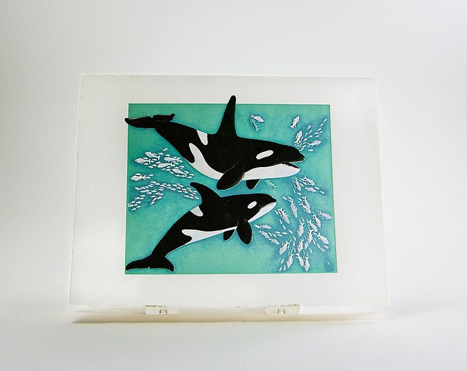 Playing Orca Whales Card. Valentine. Letterpress. Embossed. Single Note Card. Blank inside.