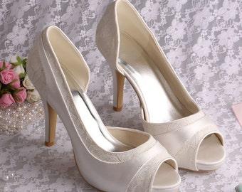 Custom handmade ivory Lace Bridal wedding satin Peeptoe dorsay platform high heels - 14 colours!