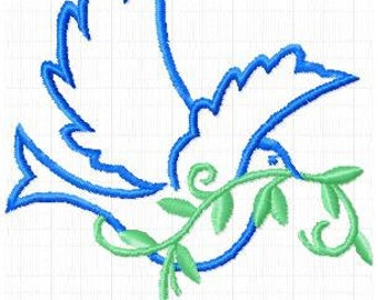 Peace dove with shrub instant download