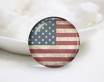 Handmade Round The Old Glory Photo Glass Cabochons-America Flag (P3661)
