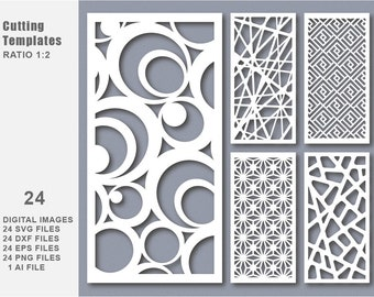 24 SVG DXF Eps Png Bundle Cut Template Modern Decorative Digital Panel and Stencil Laser Cutting Card CNC kit