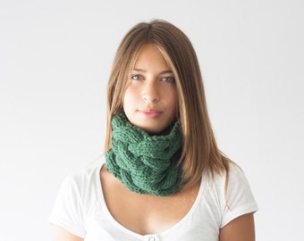Sales Green knit neckwarmer knit cowl collar neck warmer tube scarf infinity scarf cowl scarf