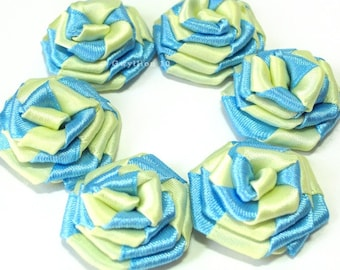 Two-Toned Blue and Yellow Satin Rose Drops - (6)