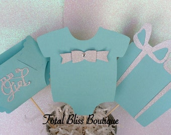 3 Pc Baby and Co Centerpiece, Robin Egg Blue Decor, Breakfast at Tiffany's Baby Shower Favors, Stork and Co Decorations, It's a Girl Decor