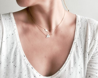 14 K SolidRose Gold Leave Pendant Necklace, 14 K Rose Gold, Solid Gold Necklace, Pendant Necklace
