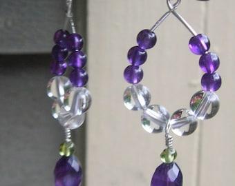 QUEEN of the NIGHT - Purple Amethyst, Crystal Quartz, Lime Peridot & Sterling Silver Tear Drop Hoop Earrings - Handmade by Dorana