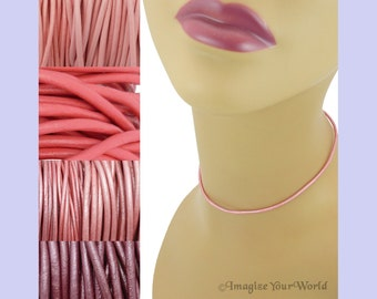 Custom Pink LEATHER Cord Necklace up to 24 inches long - choose shade, diameter, length, clasp color - 1.5 mm,  2 mm or 3 mm