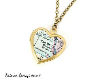 San Diego Map Necklace, Vintage Brass Heart Locket, Antique Map Jewelry, California - Made to Order