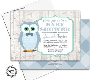 Woodland baby shower invitations owls | green and blue boys baby shower invite birch trees | printable or printed - WLP00743