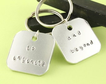 SALE - To Infinity And Beyond Keychains - Aluminum Key Rings - Best Friends Gift - Couples Gift - Valentine's Day Keyrings