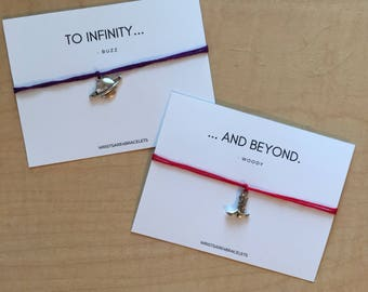 Custom Toy Story Set - Quote Wish Bracelet - Best Friend Gift