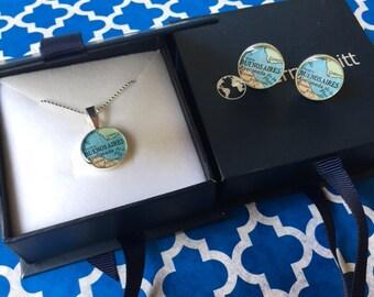 Map Cufflinks + Atlas Necklace  Wedding Set  Sterling Silver