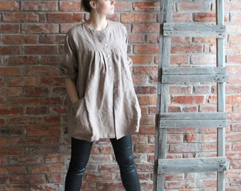 Linen Smock Artist Smock  Cappuchino Brown Loose Linen Tunic  Oversized Tunic Linen Overalls Medium to Large /  Ready to ship