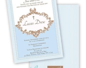 ORNATE BOY BAPTISM Printable Invitation - Blue and Brown