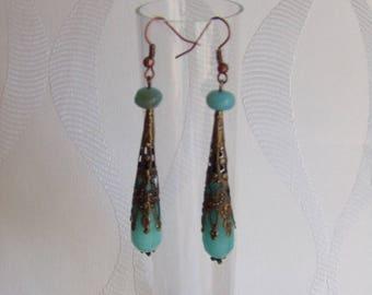 Bronze drop jade earrings