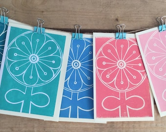 Hand printed notelet set