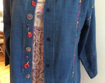 Vintage Indigo Embroidered Jacket Boho