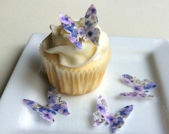 Edible Mini Butterflies - Floral Print 2 dozen - Cake & Cupcake toppers - Food Decoration