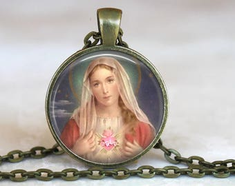 Immaculate Heart of Mary Pendant with 18 or 24 inch chain - Catholic Necklace, Blessed Virgin Mary
