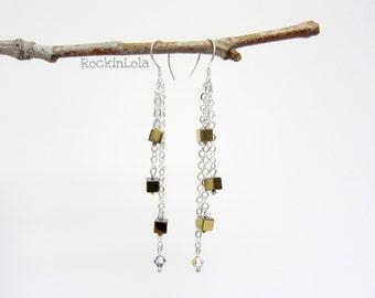 hematite earrings - dangle earrings - swarovski crystal - chain earrings - sterling silver ear hooks - handmade by RockinLola