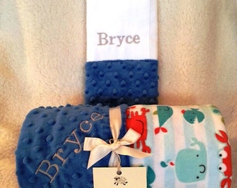 Baby Blanket Boy Name Embroidery - Minky Gift Set Burp Cloths Newborn Toddler Nautical Fish Whales Crab Gray Grey 1st First Crib Bedding