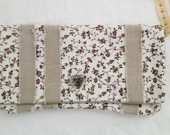 Beige striped and  pretty Laura Ashley Cotton print clutch one of a kind.