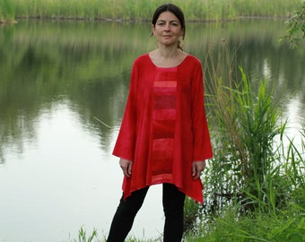 Liz & Joe viscose blouse, shades of red, patchwork, handdyed, hippy chic, size M