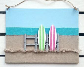 Surf Decor - Surfboard Wall Hanging - 3D Surfboard Wall Decor - Surfer Art - Surf Sign - Surfboard Sign - Beach Wall Decor - Beach Art
