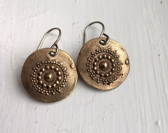 Handmade bronze India dot mandala earrings on sterling wires