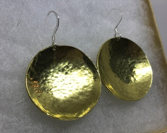 Hammered Brass Domed Disc Earrings