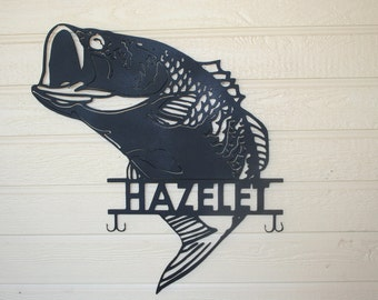 Large Mouth Bass...custom name metal sign