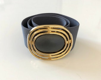 Vintage 1980's belt GRAY ELASTIC with gold oval buckle - S/M