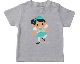 Cute Cartoon Girl In A Fairy Costume Girl's Heather Grey Halloween T-shirt