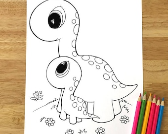 Cute Dinosaurs Coloring Page! Downloadable PDF file!