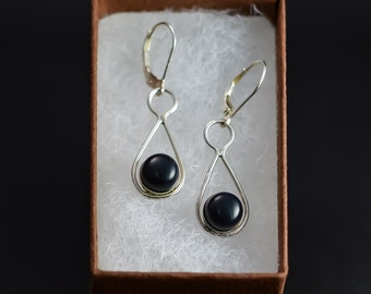Sterling Silver Earings with black ebony.