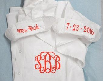 Bride's Shirt, Bride Button Down Shirt, Personalized Bride Shirt, Getting Ready Shirts, Monogrammed Shirt, I Do Shirt, Wedding Day Shirt