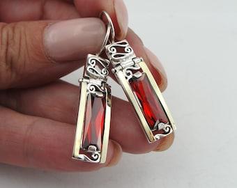 925 Garnet Earrings, Handcrafted 9k yellow gold & 925 sterling Silver Earrings, Red Wine stone earrings, Filigree Earrings, Gift (s e1658